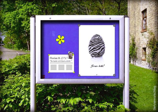Oster-Plakat im Schaukasten: Jesus lebt!