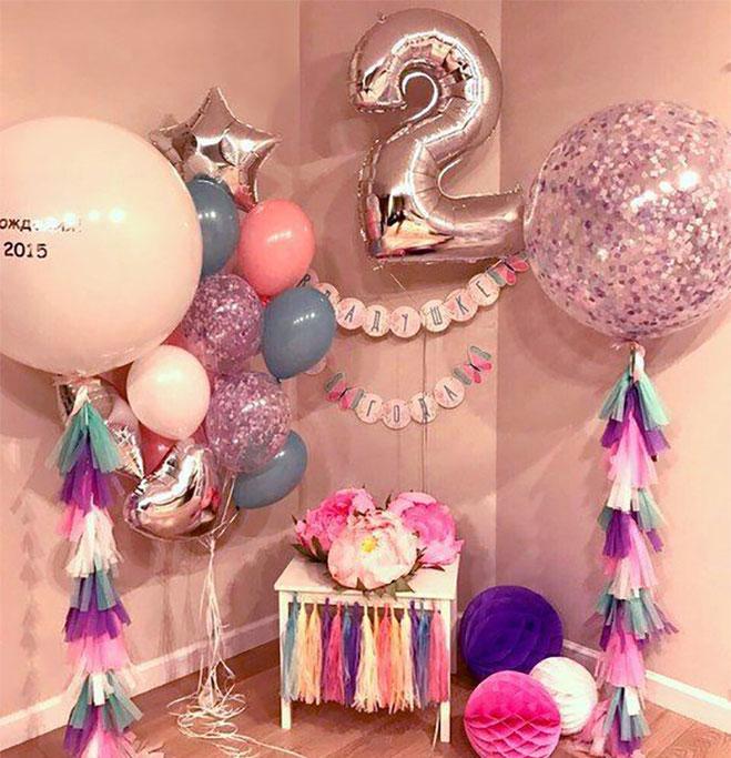 arreglo de globos fiesta de niña 2 años