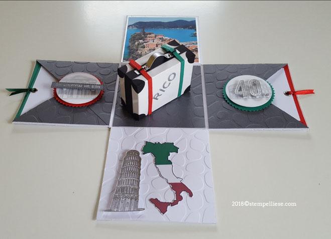 #Explosonsbox #Italien #Reise #Geldgeschenk #Gutschein #Stampinup #stempelliese.com #Explodingbox