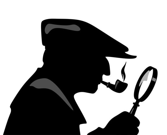 Grafische Darstellung von Sherlock Holmes mit Lupe und Pfeife; Aaden Detektei Frankfurt, Detektiv Frankfurt
