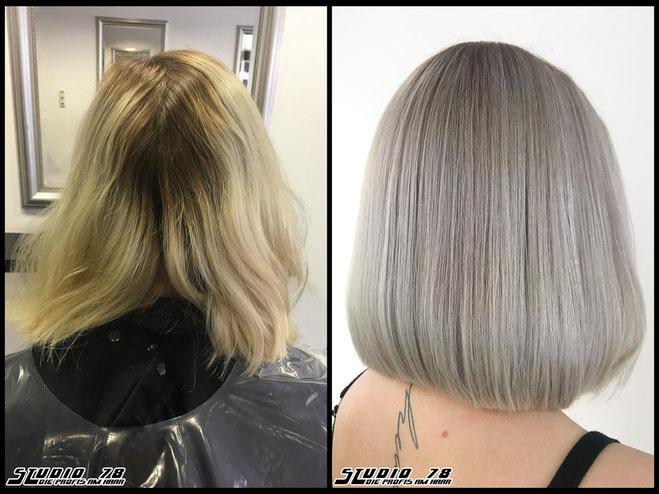 Coloration Haarfarbe  silver-granny-blonde grannyhair grau graublond silberblond grannyblond coloration vorher nachher