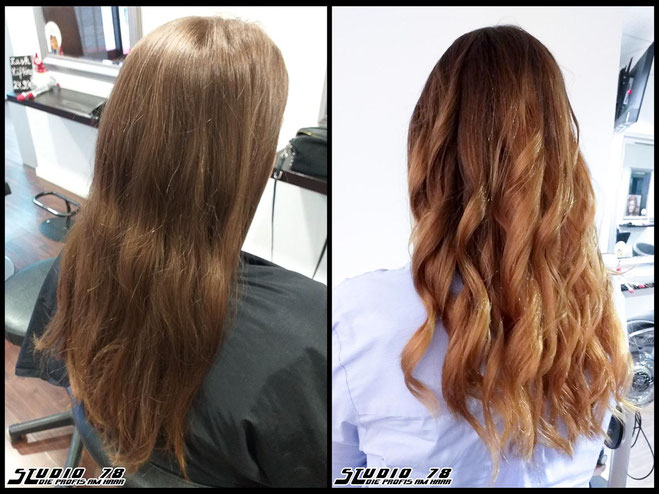 Coloration Haarfarbe copper-blonde kupfer-blond balayage copper-blonde-balayage coloration vorher nachher