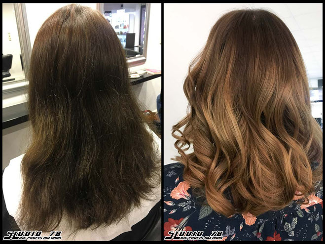 Coloration Haarfarbe bronde caramel-balayage karamell coloration vorher nachher