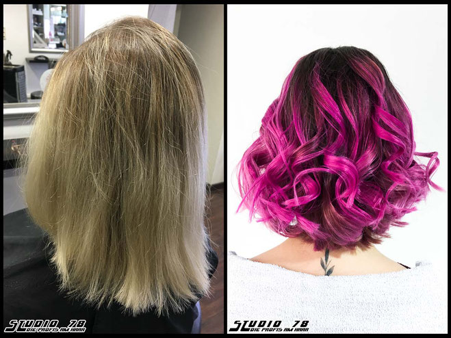 Coloration Haarfarbe neon neonhaircolor neonpurple neonpink cyberpunkhaircolor neonpurplepink coloration vorher nachher