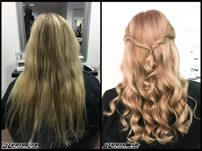 Coloration Haarfarbe nordic-blonde nudeblonde blonde hell-blond  blond coloration vorher nachher