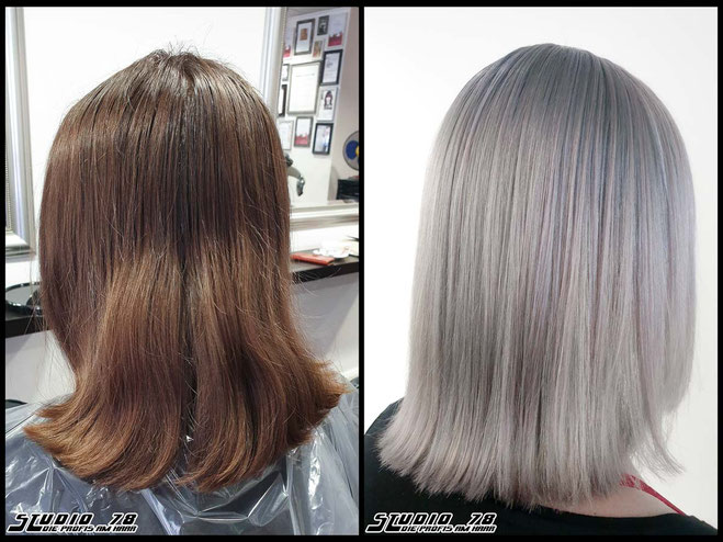 Coloration Haarfarbe pastel-grey-granny-blonde pastel-coloration pastellhaarfarbe pastellgrau graublond grannyblond coloration vorher nachher