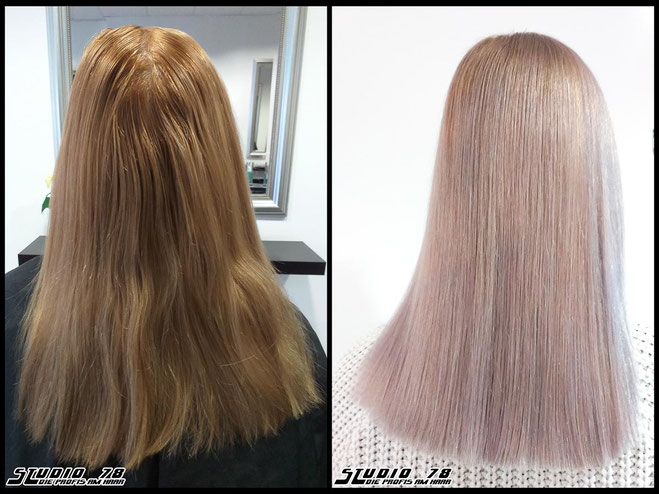 Coloration Haarfarbe blonde nudeblonde blonde hell-blond  blond coloration vorher nachher