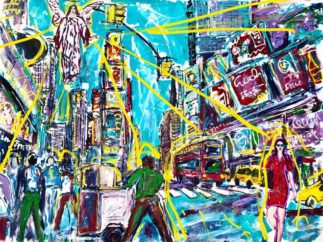 Angels bless NY II/ Acryl auf Leinwand/ 200 cm x 160 cm (Acrylic on canvas/ 79 Inch x 63 Inch)