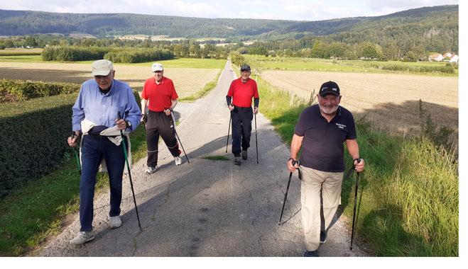 von links nach rechts:  Georg Weddig (91), Gerhard Lotze (86), Horst Dieterich (87), Hubert Zetzmann (81)