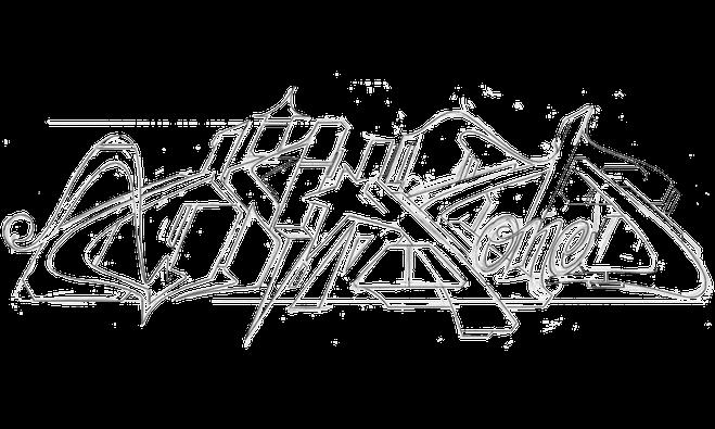 Eine Graffiti Skizze auf weißem Hintergrund. Zu sehen sind Bleistift Linien von einem Ohm One Graffiti Schriftzug.