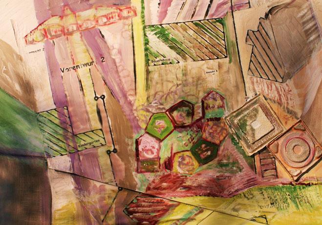 ©  Nathalie Arun: metamorphe Urbanität 2, Öl, Dispersion, Gouache auf Leinen, b 90 cm x h 1,20 m