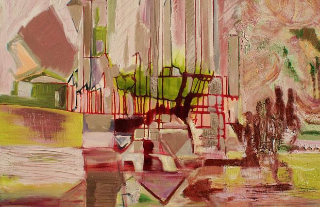 ©  Nathalie Arun: metamorphe Urbanität 1, Öl, Dispersion, Gouache auf Leinen, b 90 cm x h 1,20 m