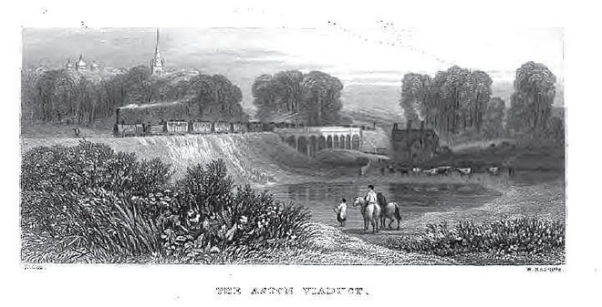 Aston Viaduct from Thomas Roscoe 1839 The Book of the Grand Junction Railway, a work now in the public domain
