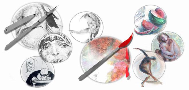 """Personalisierte Icon-Buttons """"Malen-Zeichen"""" - ARTWORK3, Heidemarie Franz"""
