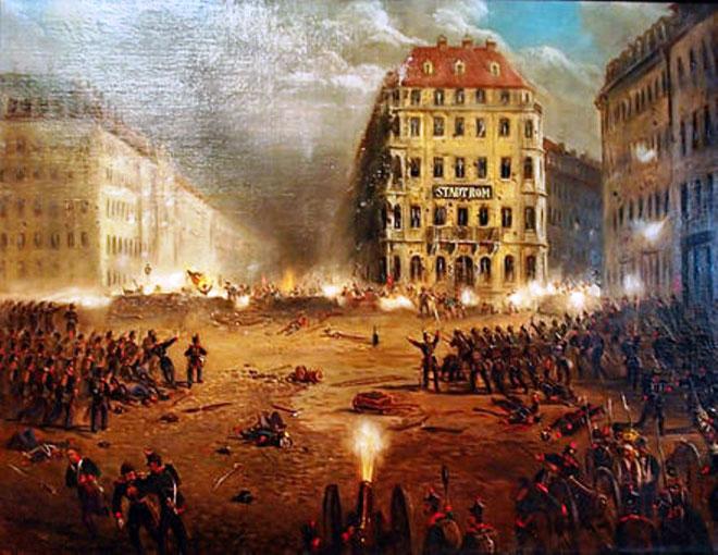 Dresden, maj 1849: Folkeopstanden mod Friedrich August II, kongen af Sachsen