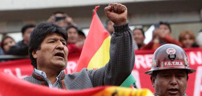 Den 5. november 2019 demonstrerede flere tusinde fagforeningsfolk i La Paz til støtte for Evo Morales