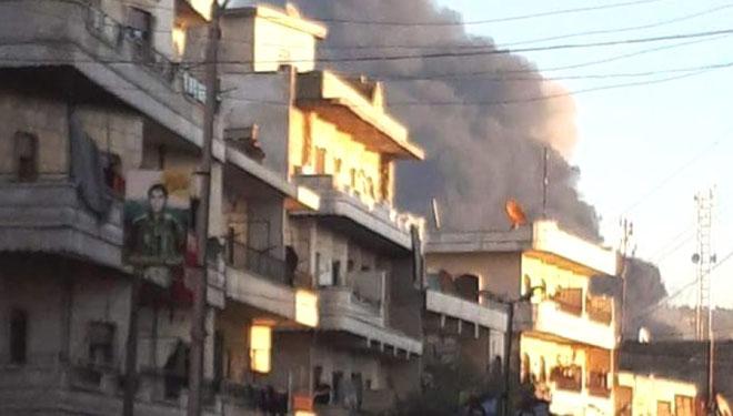 Tyrkiske kampfly bombarderer byen Afrîns centrum