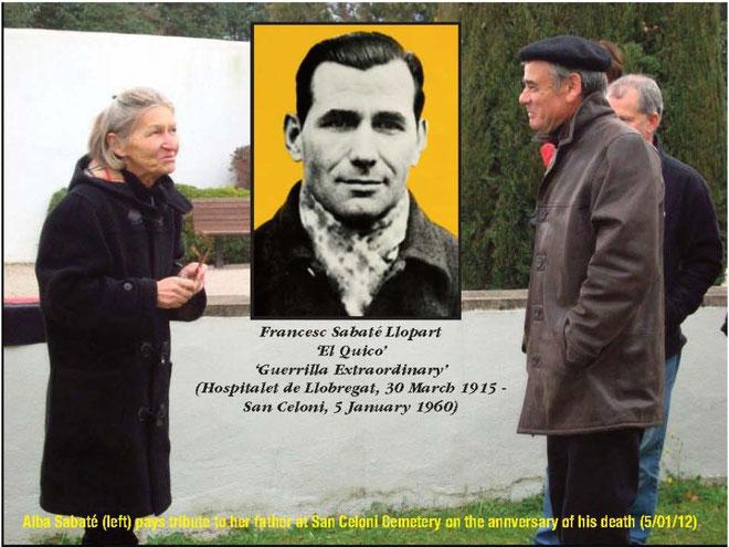 Spanske anarkistiske veteraner , deriblandt Alba Sabaté, minder Francesc Sabaté, der blev skudt af Guardia Civil, d. 5. januar 1960