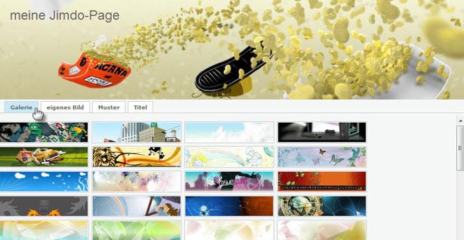 Screenshot Jimdo-Galerie für Header-Bilder