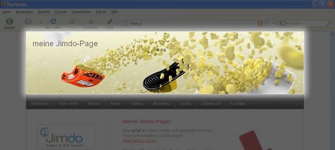 Screenshot Header-Bereich einer Jimdo-Page