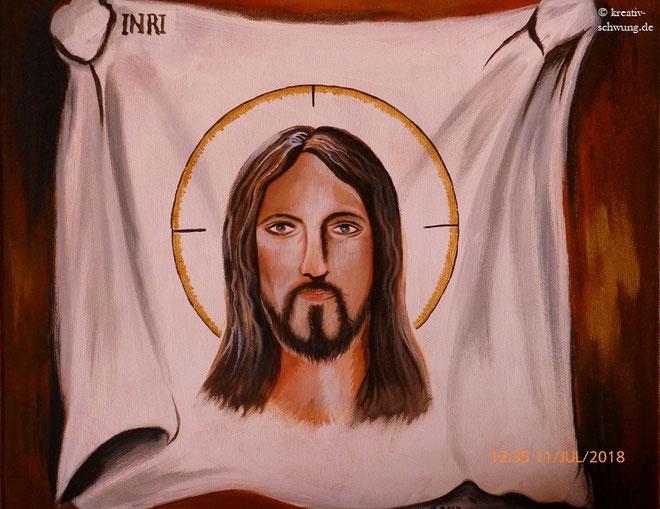 Jesus auf dem Schweißtuch, Acryl