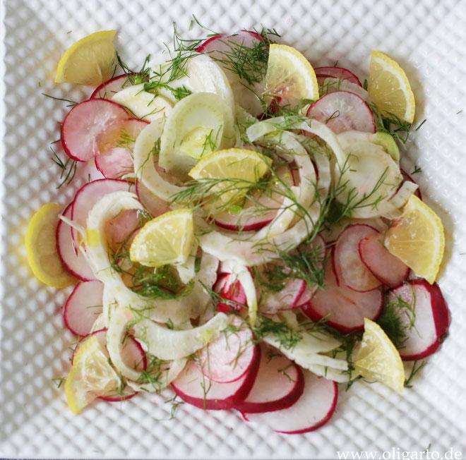 Sommerlicher Salat mit Fenchel, Radieschen und Zitrone Oligarto Rezepte