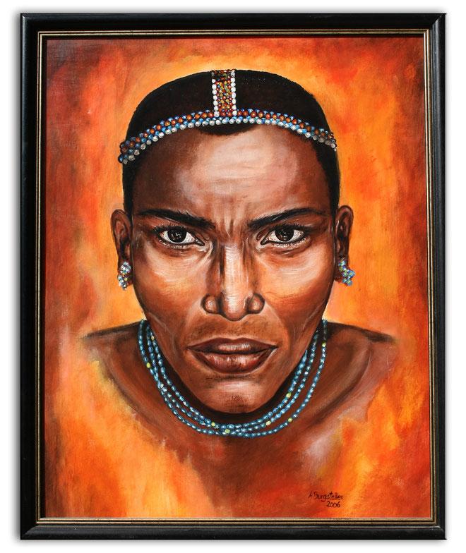BARABAIG - Massai Portraitbild Malerei - Gesicht Portrait Malerei - Afrika Gemälde