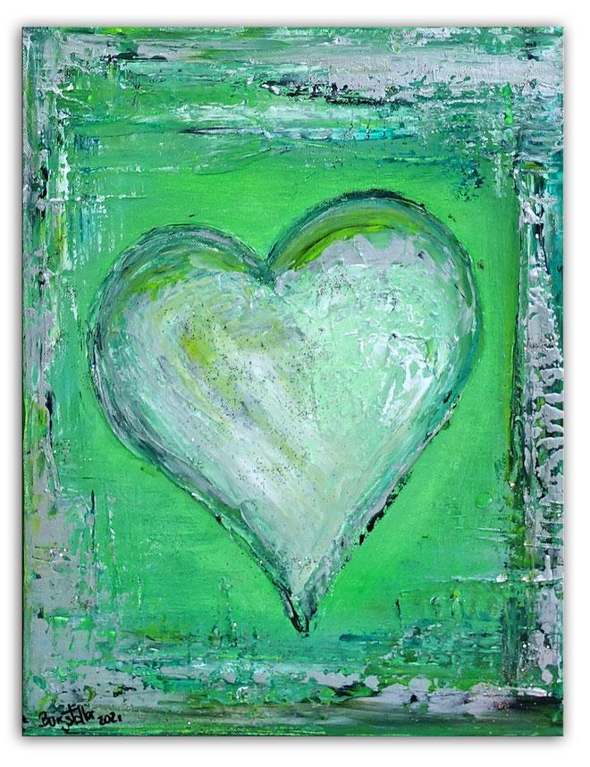 Herzbild 180 - Herz Bilder - Herz Malerei abstrakt - Herz Acryl Gemälde mit PU Schaum