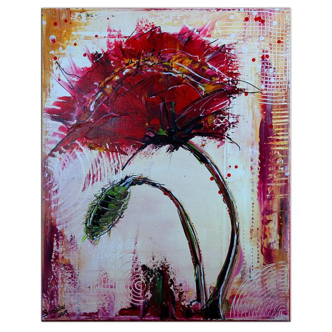 Mohnblüte mit Knospe abstrakte Blumenmalerei modernes Blumengemälde 40x50