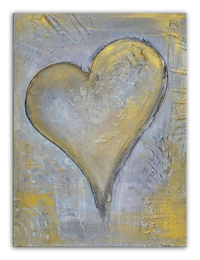 Herzbild 138 - Herz Bilder - Herz Malerei abstrakt - Herz Acryl Gemälde - Geschenk