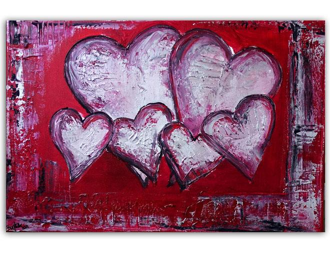 Herzbild 151 - Herz Bilder - Herz Malerei abstrakt - Herz Acryl Gemälde - Geschenk