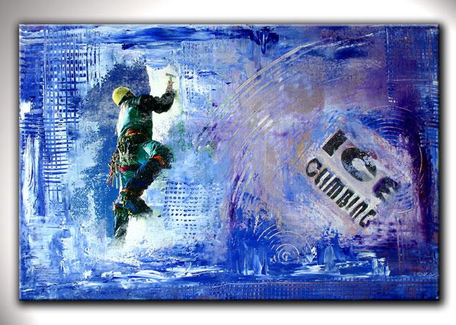 ICE CLIMBER 2 - Eiskletterer Original Bild Gemälde Malerei - Eisklettern Umdruck Acrylbild