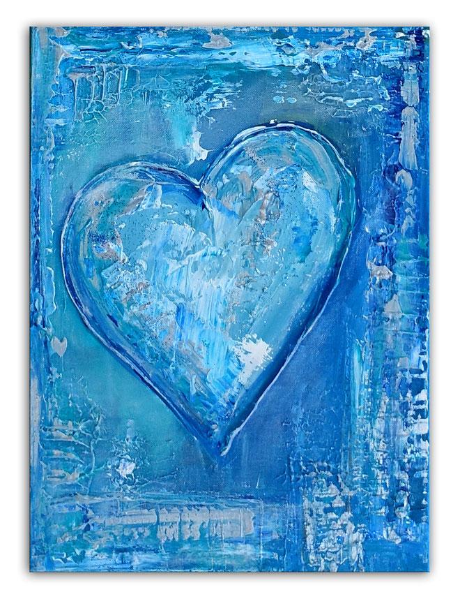 Herzbild 156 - Herz Bilder - Herz Malerei abstrakt - Herz Acryl Gemälde - Geschenk