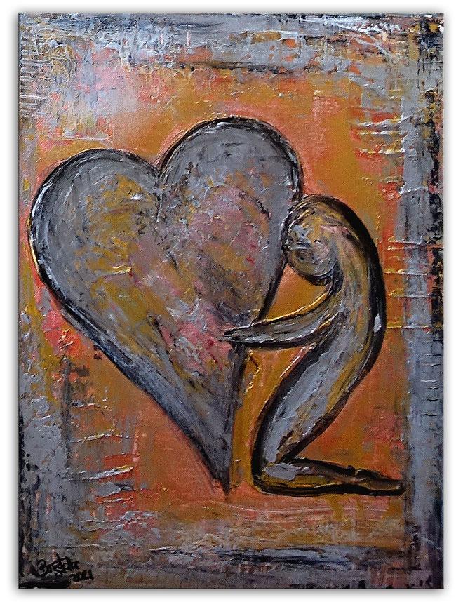 Herzbild 72 - Herz Bilder - Herz Malerei abstrakt - Herz Acryl Gemälde - Geschenk