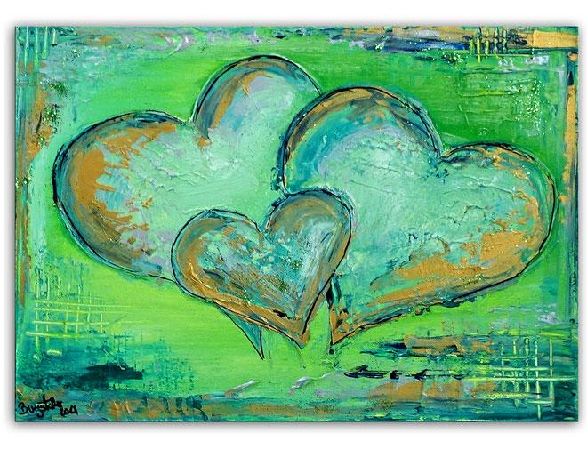 Herzbild 152 - Herz Bilder - Herz Malerei abstrakt - Herz Acryl Gemälde - Geschenk