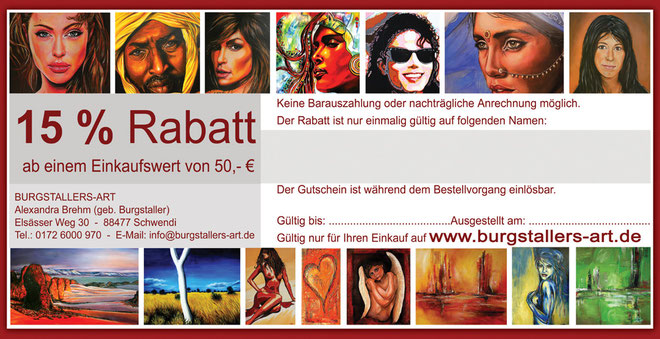 Treuerabatt - Gutscheinrabatte - Kunst und Gemälde günstig kaufen