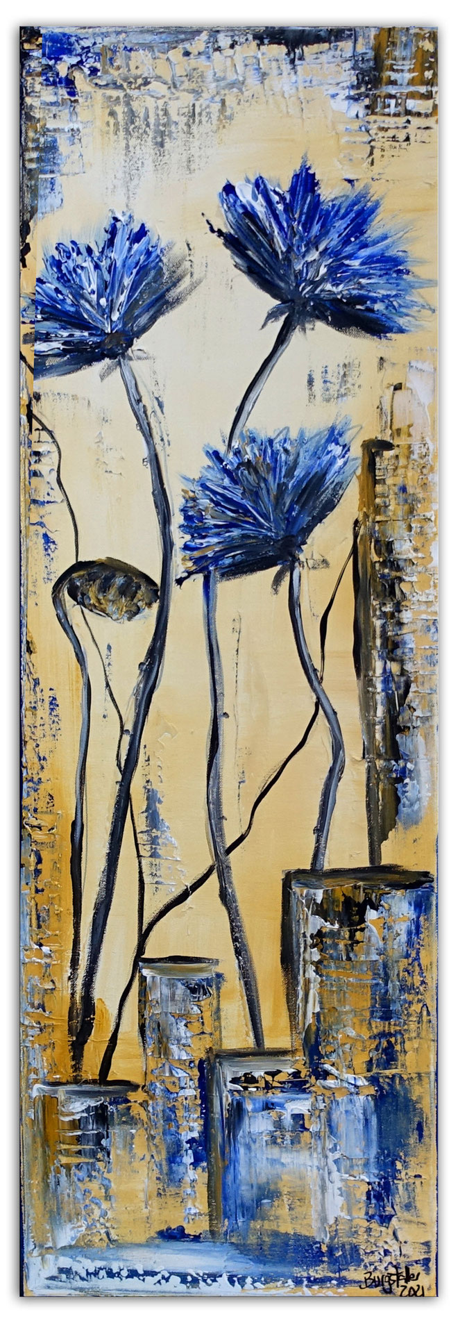 3 Gelbe Blüten Blumen Malerei Acryl Wandbild Blumenbild handgemalt