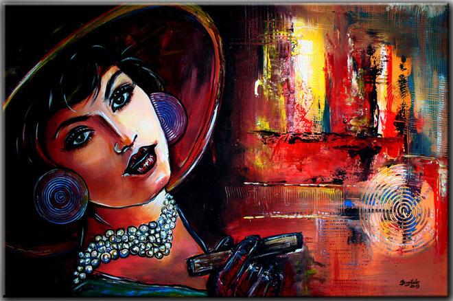 FIRE - Retro und Vintage Portrait Malerei - Portraitbild - Kunst Bild Frau modern
