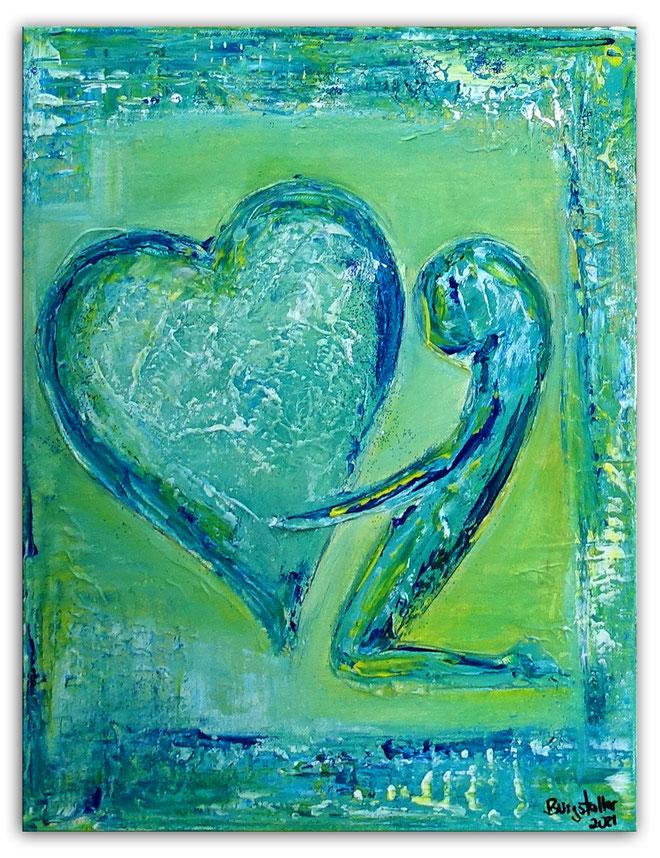 Herzbild 4 - Herz Bilder - Herz Malerei abstrakt - Herz Acryl Gemälde - Geschenk
