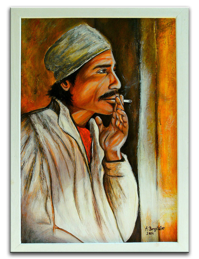 Marokko - Portrait Bild  Marokkaner - Acryl Gemälde - Portraitmalerei