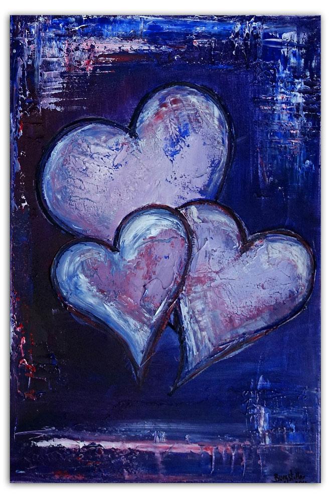 Herzbild 142 - Herz Bilder - Herz Malerei abstrakt - Herz Acryl Gemälde - Geschenk