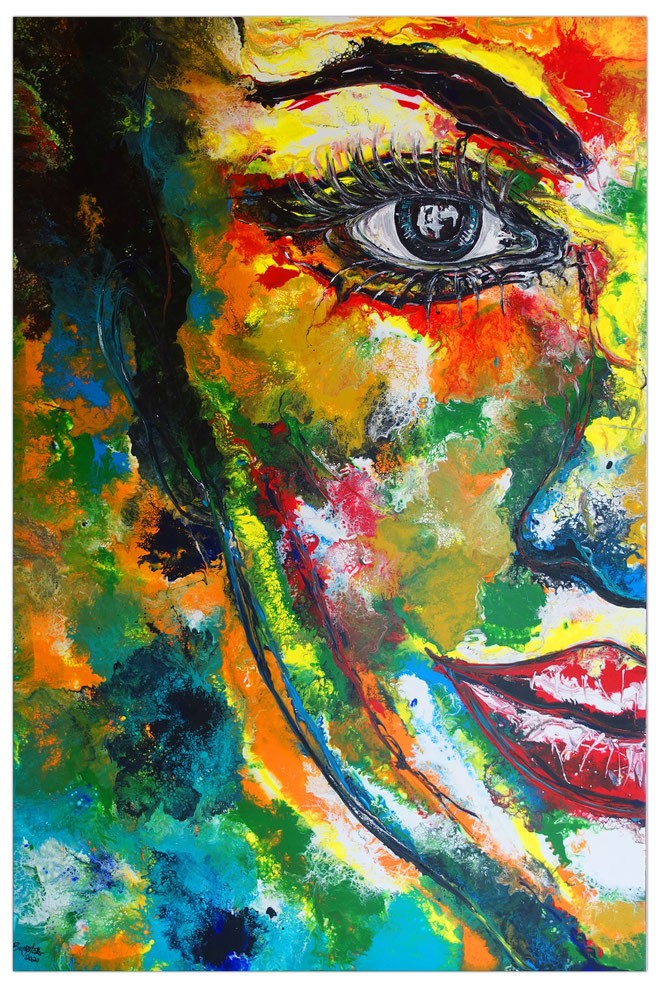 Abstraktes Gesicht bunt Porträt Malerei Wandbild Unikate Kunstbild 150x100