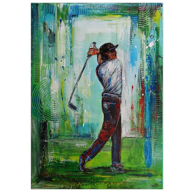 Golfer Abschlag Golfbild Gemälde Golfplatz Malerei Wandbild Original Unikat