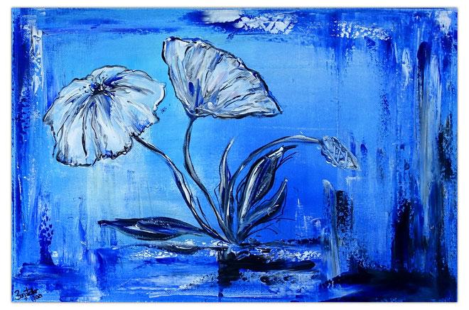 Blumen Malerei Acryl Zwei Mohnblüten mit Knospen Blumenbild