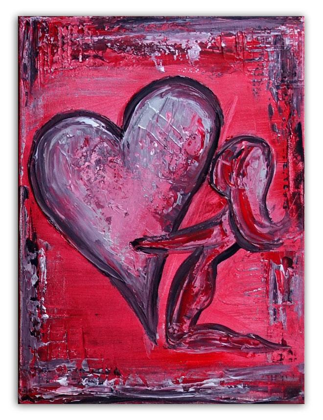 Herzbild 155 - Herz Bilder - Herz Malerei abstrakt - Herz Acryl Gemälde - Geschenk