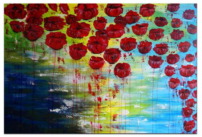Wasserblüten Wohnzimmerbild handgemalt Blumenbild Unikat Original Acryl Malerei