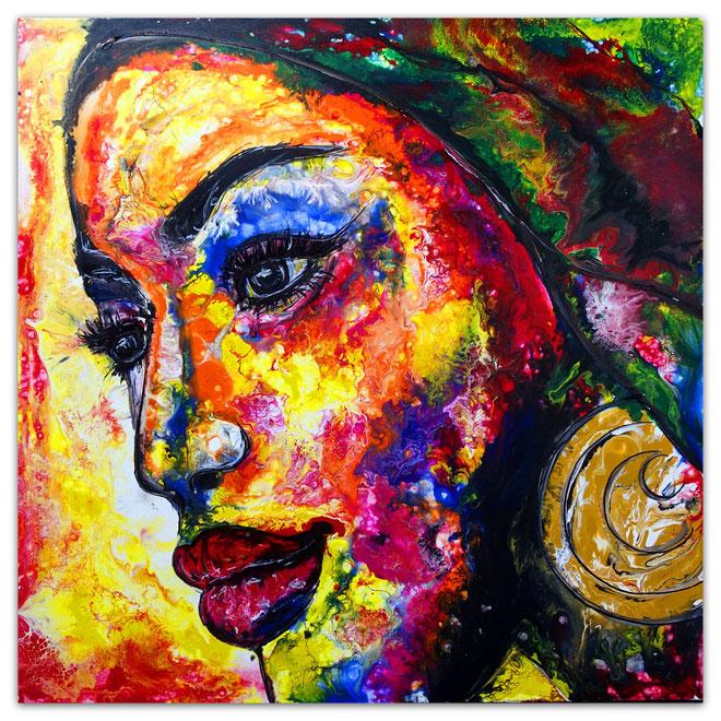 Malerei GEsicht Menschen Frau Acrylbild  Fluid Art Pouring Leinwandbild