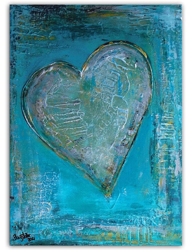 Herzbild 153 - Herz Bilder - Herz Malerei abstrakt - Herz Acryl Gemälde - Geschenk