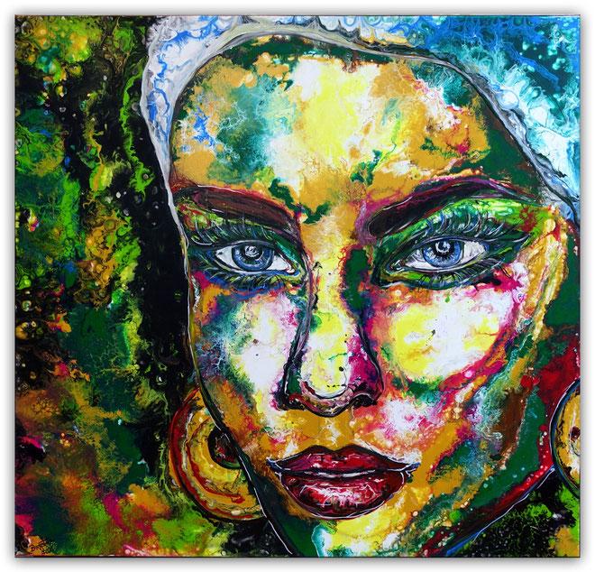 Malerei Gesicht Menschen Frau Fluid Art Pouring Original Gemälde Leinwandbild