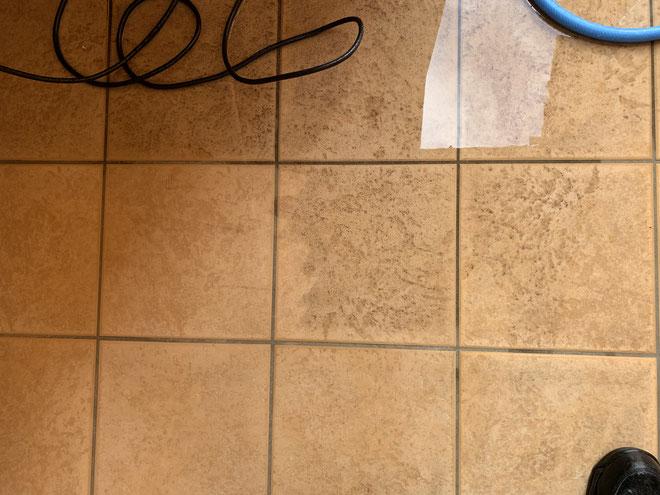 高圧洗浄を実施したところとしていないところでは、違いがくっきりと表れています